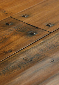 Hand scraped Walnut wide plank flooring with pegs