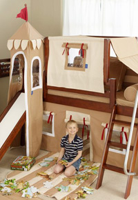low loft castle bed with slide brown
